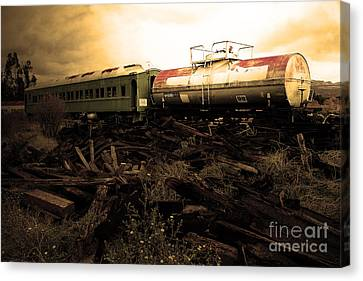 Final Stop Express . Sepia . 7d8995 Canvas Print by Wingsdomain Art and Photography