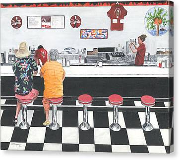 Canvas Print featuring the painting Fine Dinning by Stuart B Yaeger
