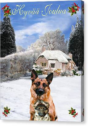 Friend Holiday Card Canvas Print - Finish Holiday German Shepherd And Puppy by Eric Kempson