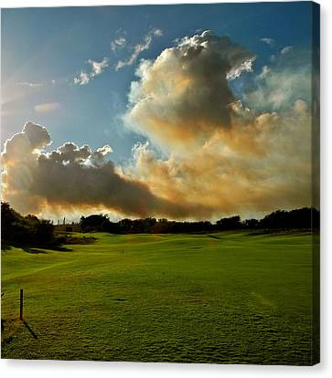 Fire Clouds Over A Golf Course Canvas Print by Kirsten Giving