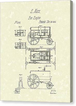 Fire Engine 1845 Patent Art Canvas Print by Prior Art Design