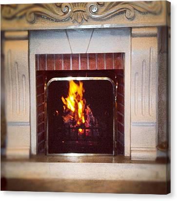 #fire #fireplace #classic #igaddict Canvas Print by Abdelrahman Alawwad