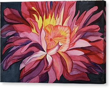 Canvas Print featuring the painting Fire Floral by Teresa Beyer