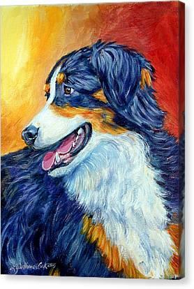 Fire Glow - Australian Shepherd Canvas Print by Lyn Cook