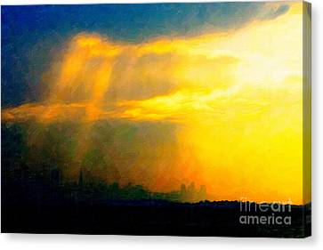 Fire In The City Canvas Print by Wingsdomain Art and Photography