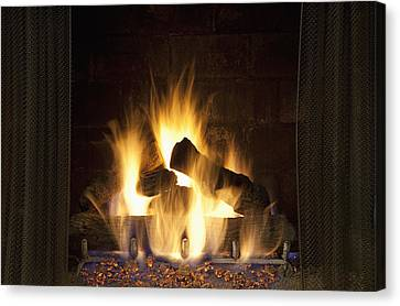 Fire In The Fireplace Hearth Canvas Print by Bryan Mullennix
