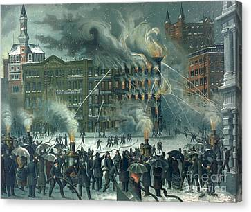 Fire In The New York World Building Canvas Print