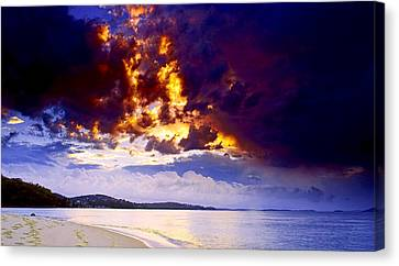 Canvas Print featuring the photograph Fire In The Sky by Paul Svensen