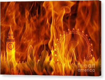 fire London skyline Canvas Print