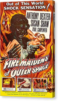 1956 Movies Canvas Print - Fire Maidens Of Outer Space, 1956 by Everett
