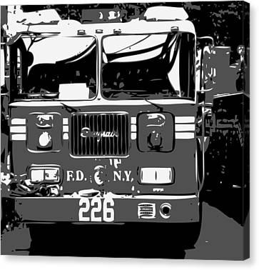 Fire Truck Bw3 Canvas Print by Scott Kelley