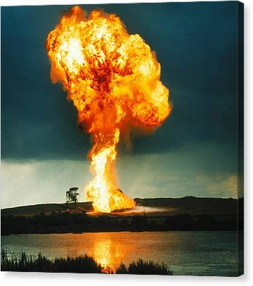 Fireball From Liquid Petroleum Gas Explosion Canvas Print by Crown Copyrighthealth & Safety Laboratory