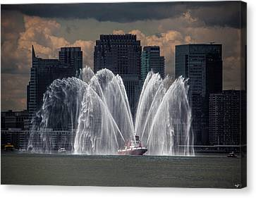 Fireboat On The Hudson Canvas Print