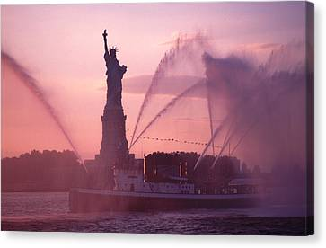 Canvas Print featuring the photograph Fireboat Plumes The Statue Of Liberty by Tom Wurl