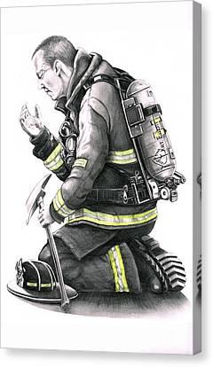 Firefighter Canvas Print by Murphy Elliott