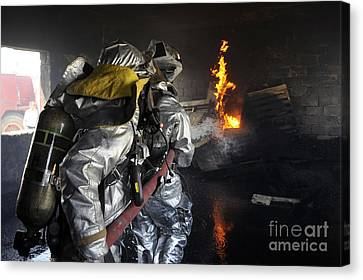 Baghdad Canvas Print - Firefighters Extinguish A Fire by Stocktrek Images