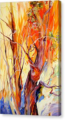Canvas Print featuring the painting Fireglow by Rae Andrews