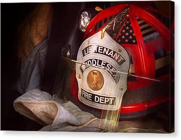 Fireman - Hat - The Lieutenants Cap  Canvas Print by Mike Savad