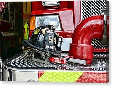 Fireman - Helmet Canvas Print by Paul Ward