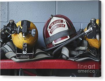 Fireman Helmets And Gear Canvas Print by Skip Nall