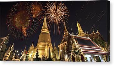 Firework On Thai Royal Palace Canvas Print by Anek Suwannaphoom