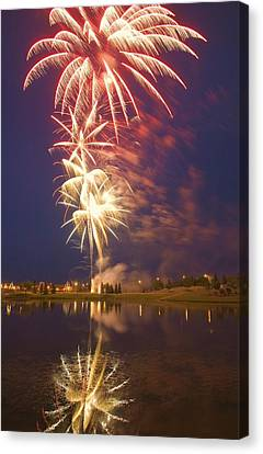 Fireworks Display On Canada Day Canvas Print by Carson Ganci