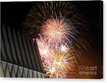 Fireworks Explode Over The Air Force Canvas Print by Stocktrek Images