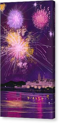 Fireworks In Malta Canvas Print by Angss McBride
