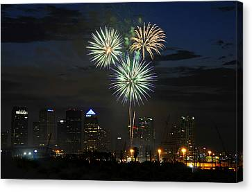 Fireworks Of Tampa Canvas Print by David Lee Thompson
