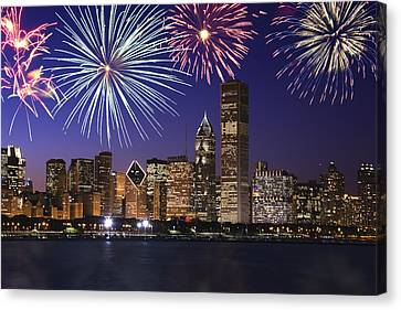 Fireworks Over Chicago Skyline Canvas Print by Thinkstock