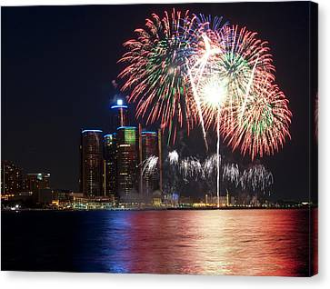 Fireworks Over Detroit Canvas Print by George Hawkins