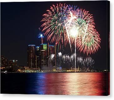 Fireworks Over Detroit Canvas Print