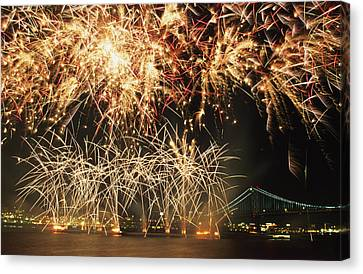 Fireworks Over Harbour Canvas Print by Axiom Photographic