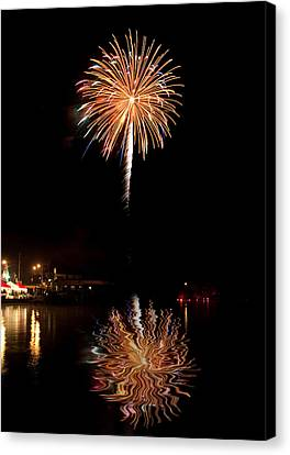 Canvas Print featuring the photograph Fireworks Over Lake by Cindy Haggerty