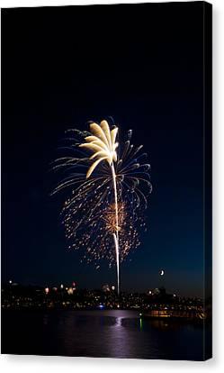 Fireworks Over Lake Washington Canvas Print by David Rische
