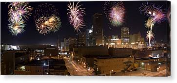 Fireworks Over The City Canvas Print by Ricky Barnard