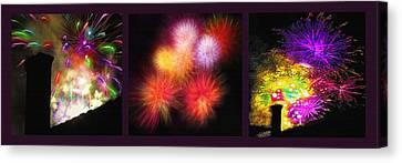 Fireworks Triptych Canvas Print by Steve Ohlsen