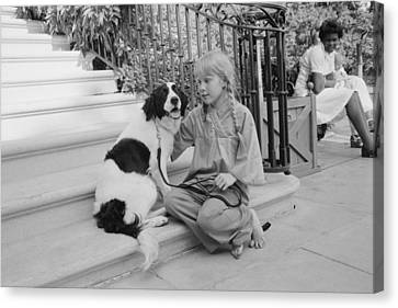 First Daughter Amy Carter With Her Dog Canvas Print by Everett
