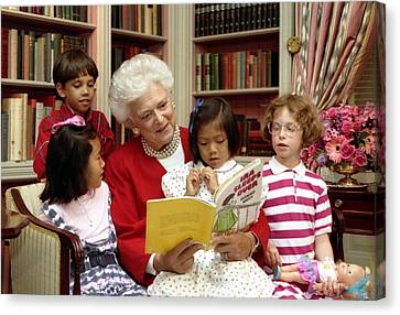 First Lady Barbara Bush Reads Canvas Print by Everett