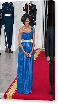 First Lady Michelle Obama Wearing Canvas Print by Everett