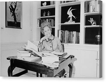 First Lady Pat Nixon Working At A Small Canvas Print by Everett