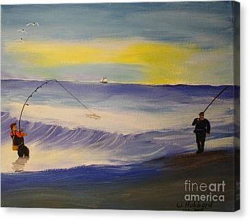 First Light First Wave First Fish Canvas Print by Bill Hubbard