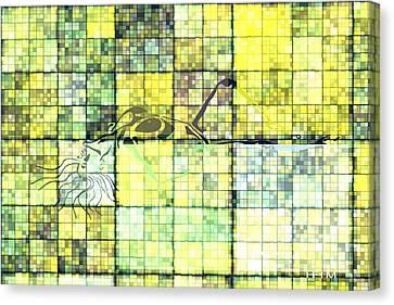 First Time Geometric Yellow Canvas Print by Mayhem Mediums