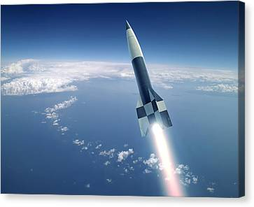 First V-2 Rocket Launch, Artwork Canvas Print by Detlev Van Ravenswaay