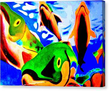 Fish On Dumpster Canvas Print by Randall Weidner