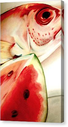 Fish Out Of Watermelon Canvas Print by Joan Pollak