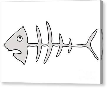 Fish Skeleton - Fishbones Canvas Print by Michal Boubin