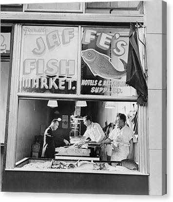 Fish Store In The Lower East Side Canvas Print by Everett