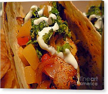 Fish Taco With Mango Salsa Canvas Print by Renee Trenholm