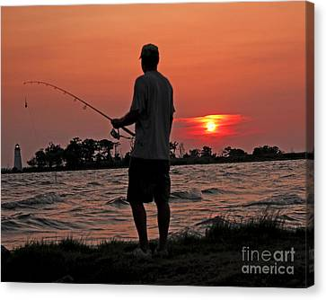 Canvas Print featuring the photograph Fisherman And Lighthouse Sunset by Luana K Perez